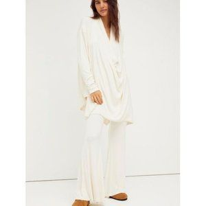 NWT Free People Ivory Romy Ribbed Bell Bottom Draped Sweater Set - Size Small